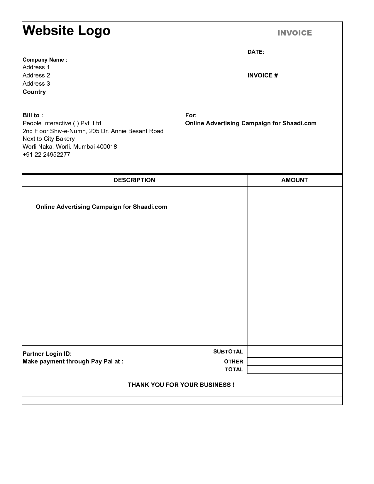 simple invoice form | invoice example, Invoice templates