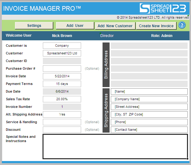 Simple Invoice Manager ⋆ Invoice Template