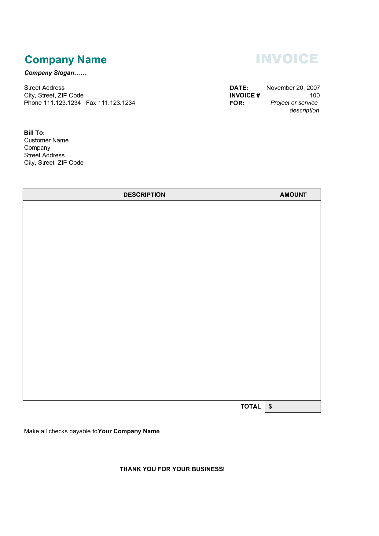 Simple Invoice Template Invoice Example - Free billing invoice forms for service business