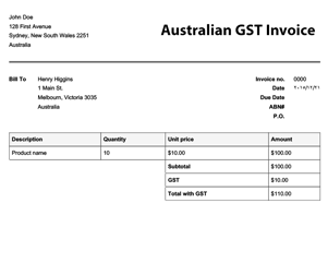 Doc.#7441189: Invoice with Gst Template – Australian GST Invoice