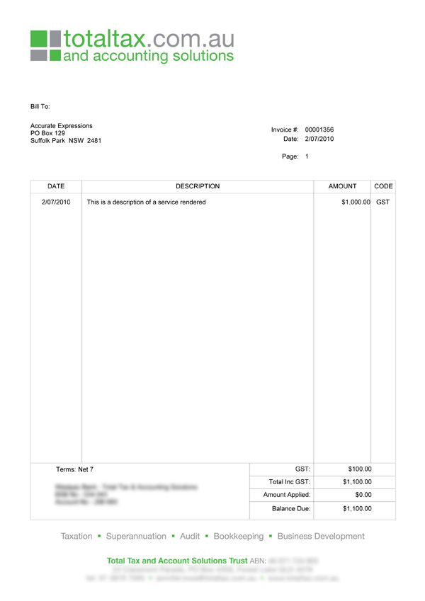 Trade Invoice Template Australia – Privatesoftware.Info
