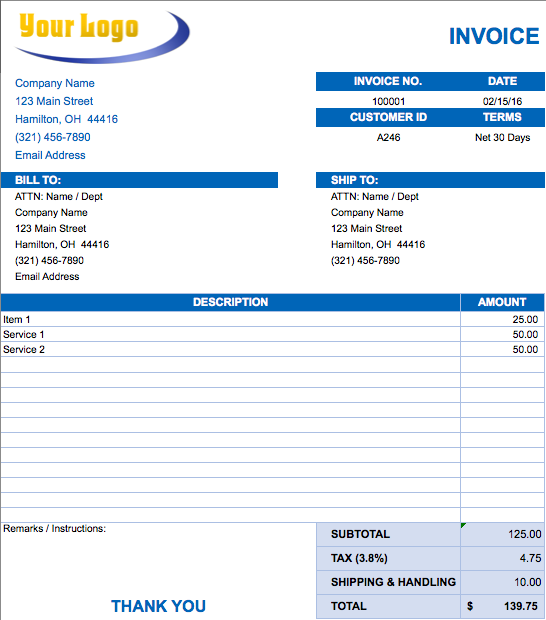 Free Landscaping Lawn Care Service Invoice Template Excel Basic