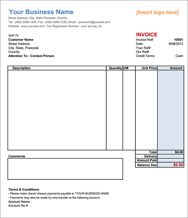 Download Services Invoice Template Free  RabitahNet
