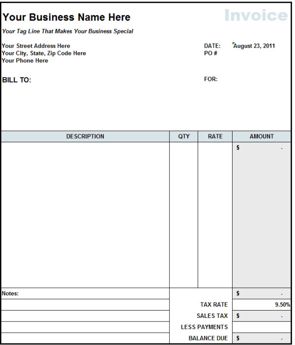 Subcontractor Invoice Template Excel Invoice Example - Excel invoice templates free download