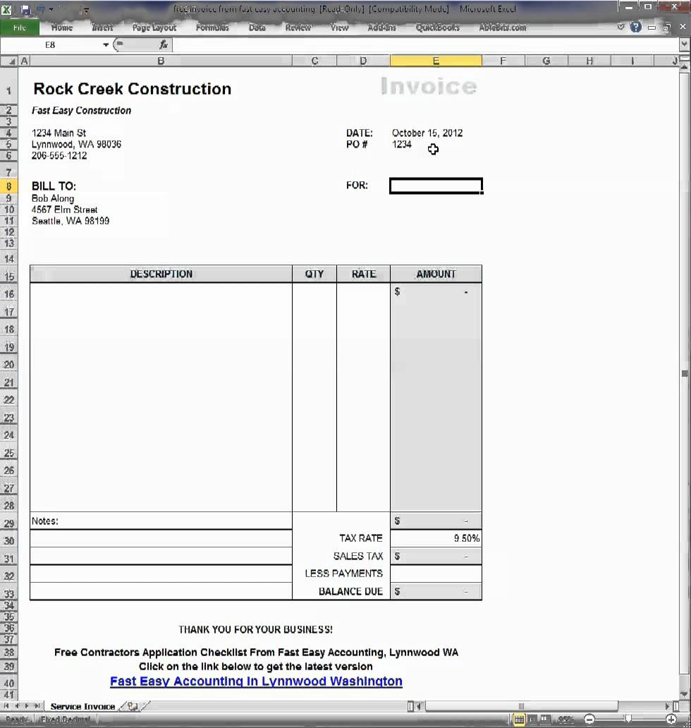 Free Contractor Invoice Template On Excel Video How It Works By