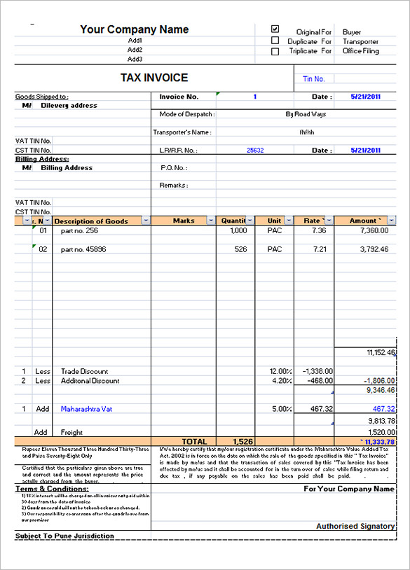 tax invoice template free download | invoice example, Invoice templates