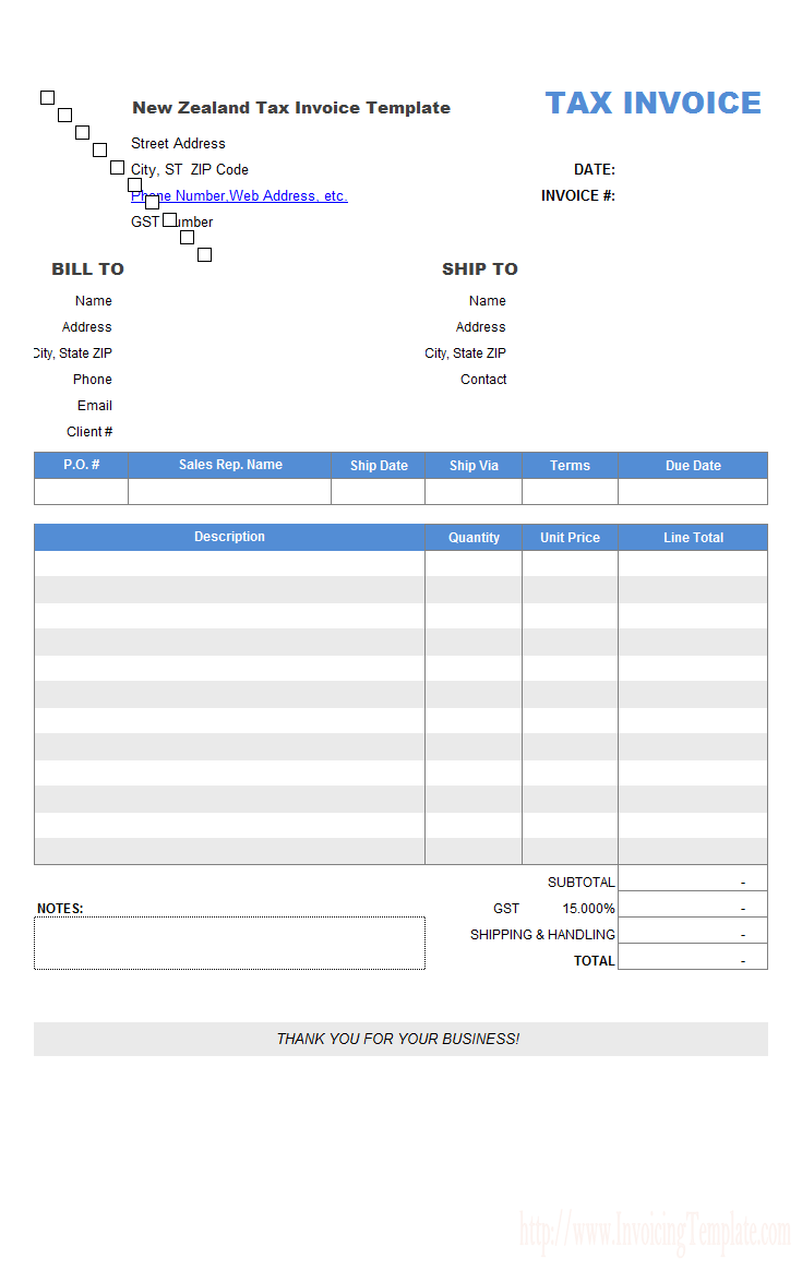 Retail Invoice Template Tax Nz Img