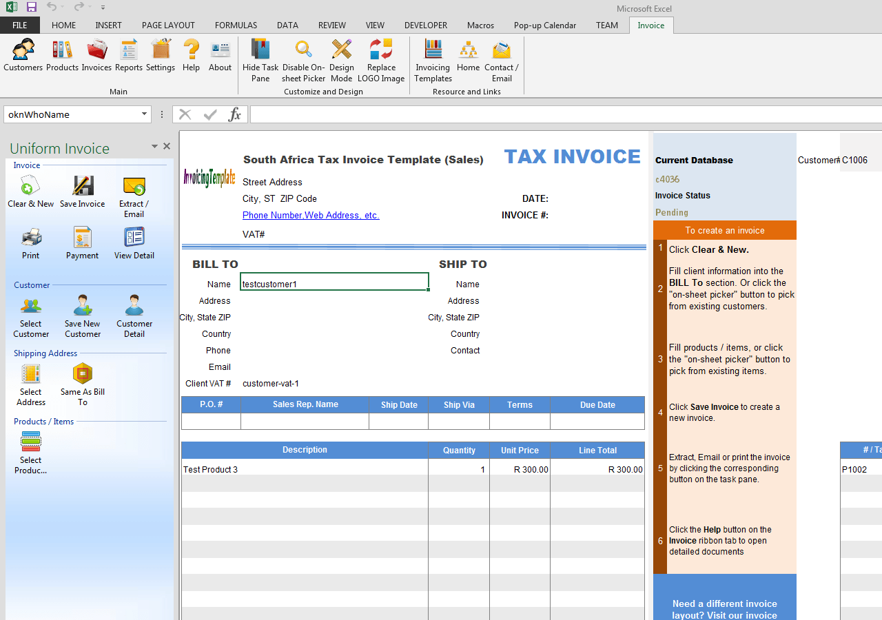 South Africa Tax Invoice Template (Sales)