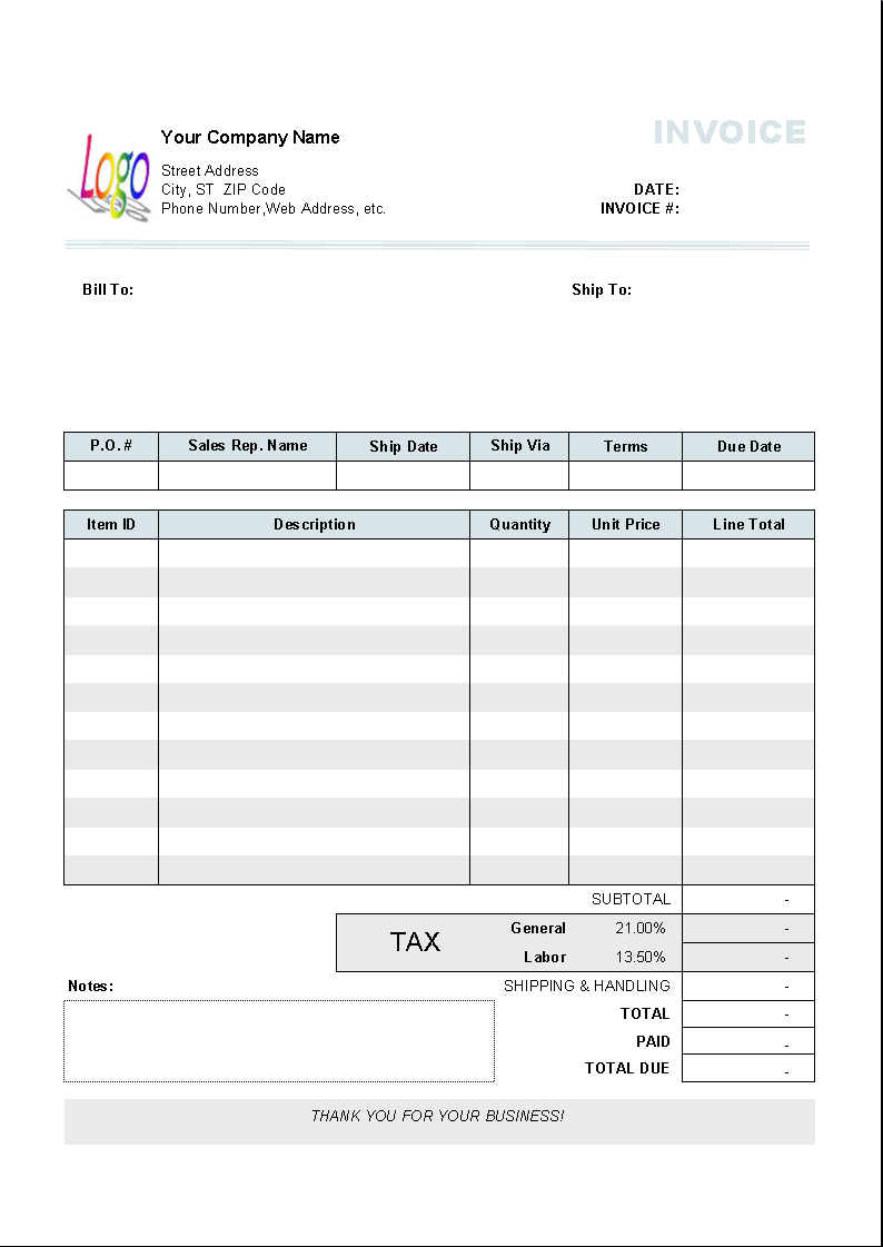 free tax invoice template excel south africa – notators, Invoice templates
