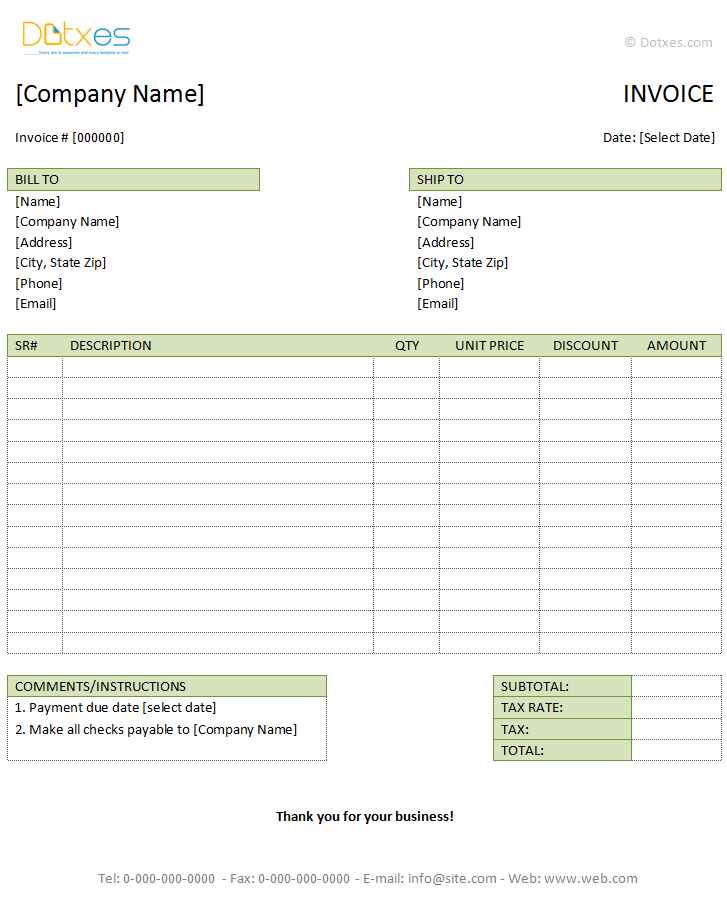 Tax Invoice Template Microsoft Word | Best Business Template
