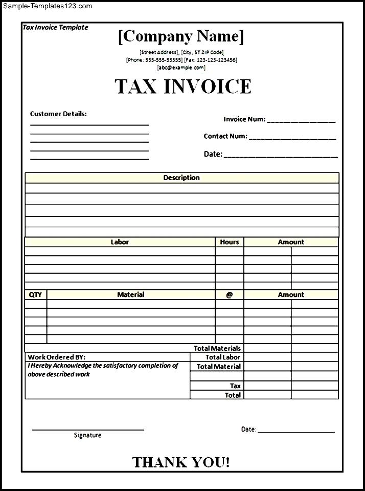 Doc.#600758: Tax Invoice Template Word Doc – 10 Tax Invoice