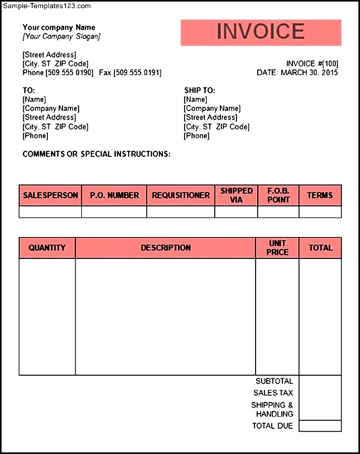 Tax Invoice Template Word Doc Invoice Example - Free blank invoice template for service business