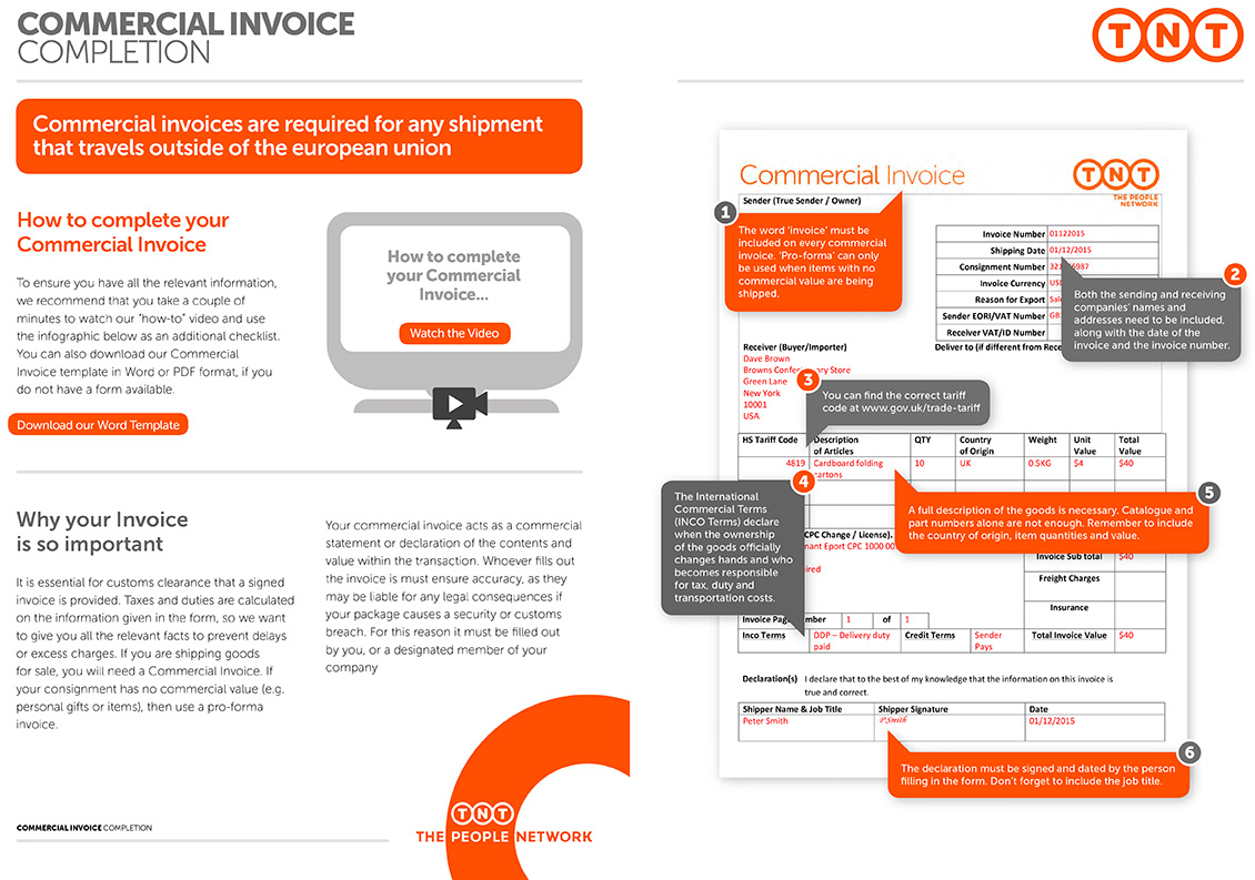 Tnt Commercial Invoice Template ⋆ Invoice Template