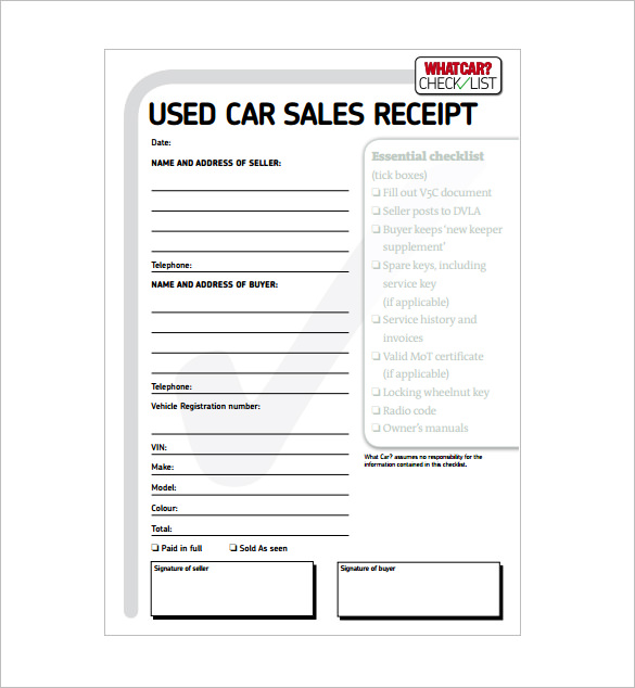 Car Sale Receipt Template – 6+ Free Word, Excel, PDF Format