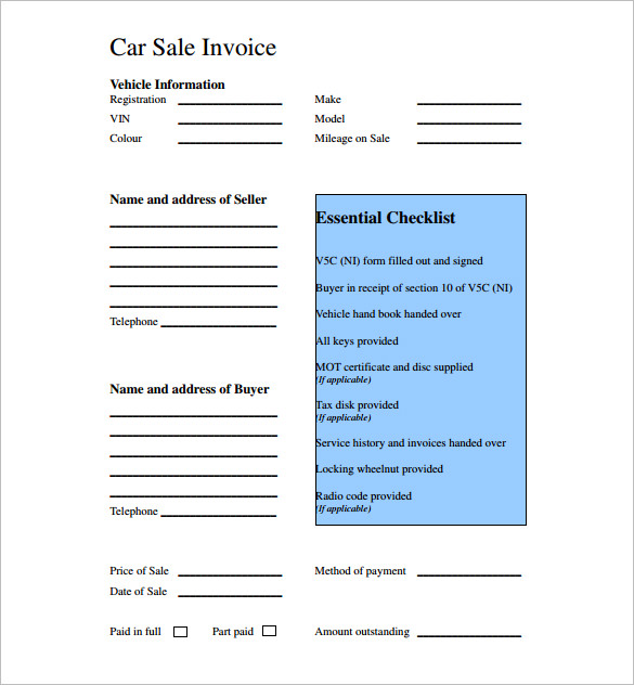 Used Car Sales Invoice Template Free Invoice Template 2017