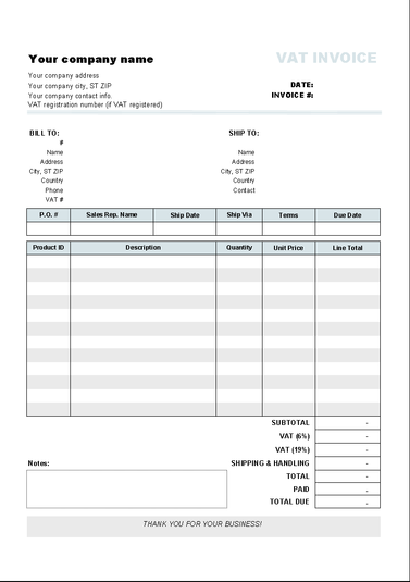 Invoice Template with Two VAT Tax Rates Download