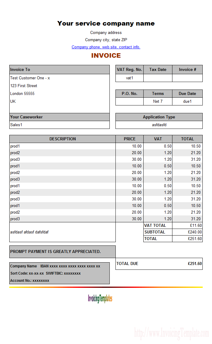 Vat Invoice Template Invoice Example