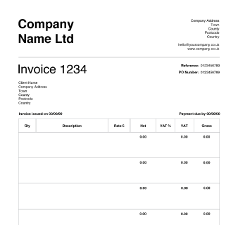vat invoice template uk