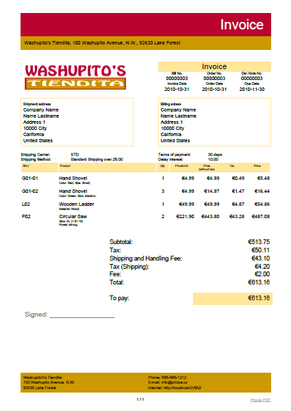 VirtueMart Invoice, Delivery Note and Receipt Addon