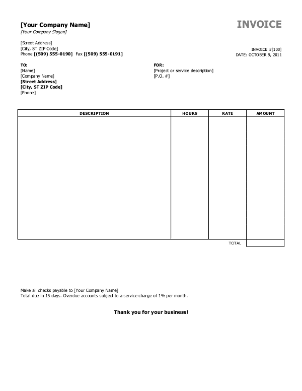 word invoice template | invoice example, Simple invoice