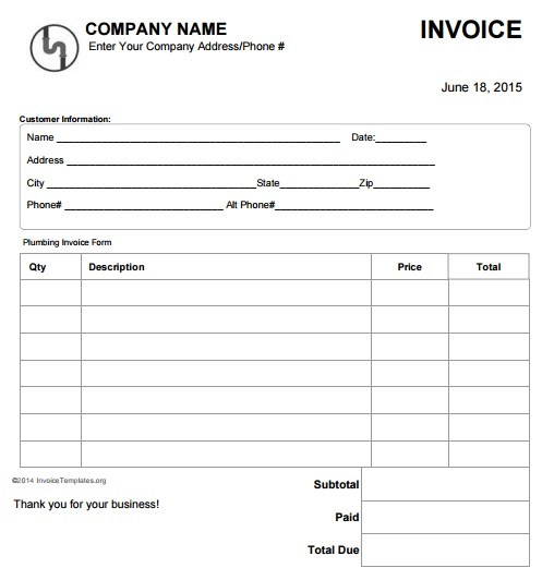 Invoice For Work