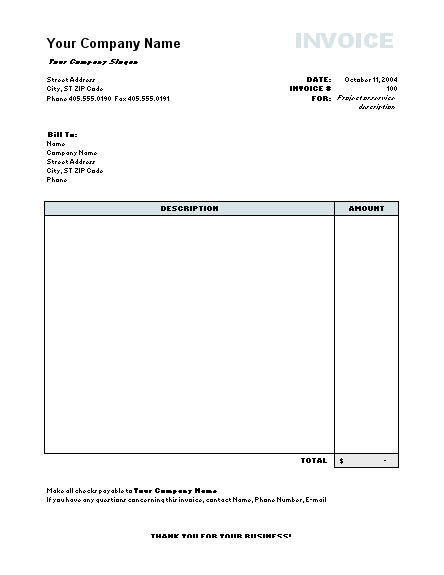 Work Invoice Template Word – Ms Word Receipt Template