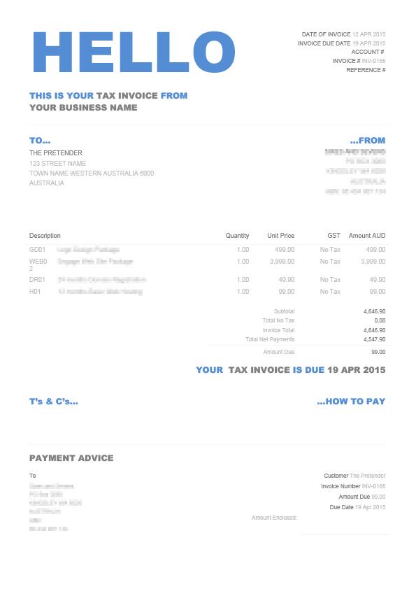 Hello Xero Invoice Template | Custom .docx Xero Theme