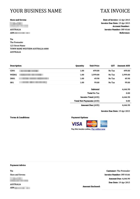 Classic Serif .docx Xero Invoice Template | Xero Themes