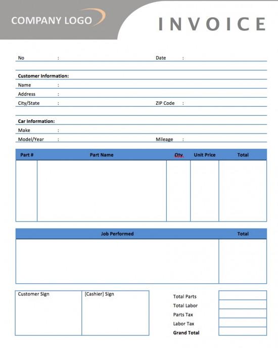 auto invoice template
