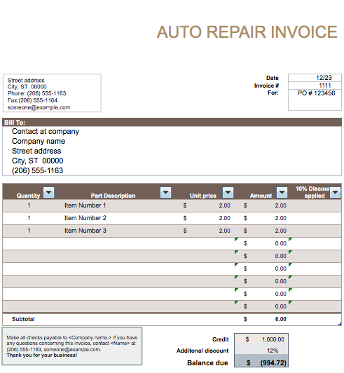 Auto repair invoice template word invoice example for Florida auto repair invoice