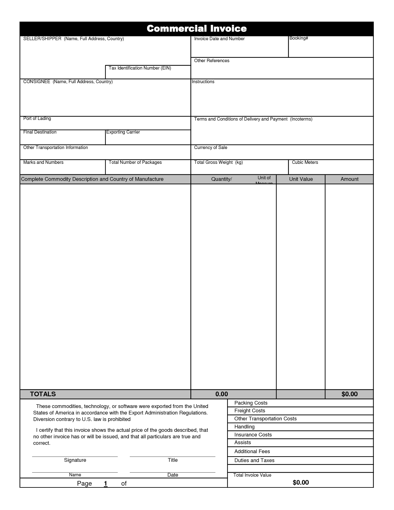 Commercial Invoice Template Free Invoice Example