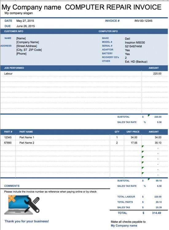 Computer Repair Invoice Template Pdf Computer Repair Invoice Template Excel X Wrekcz