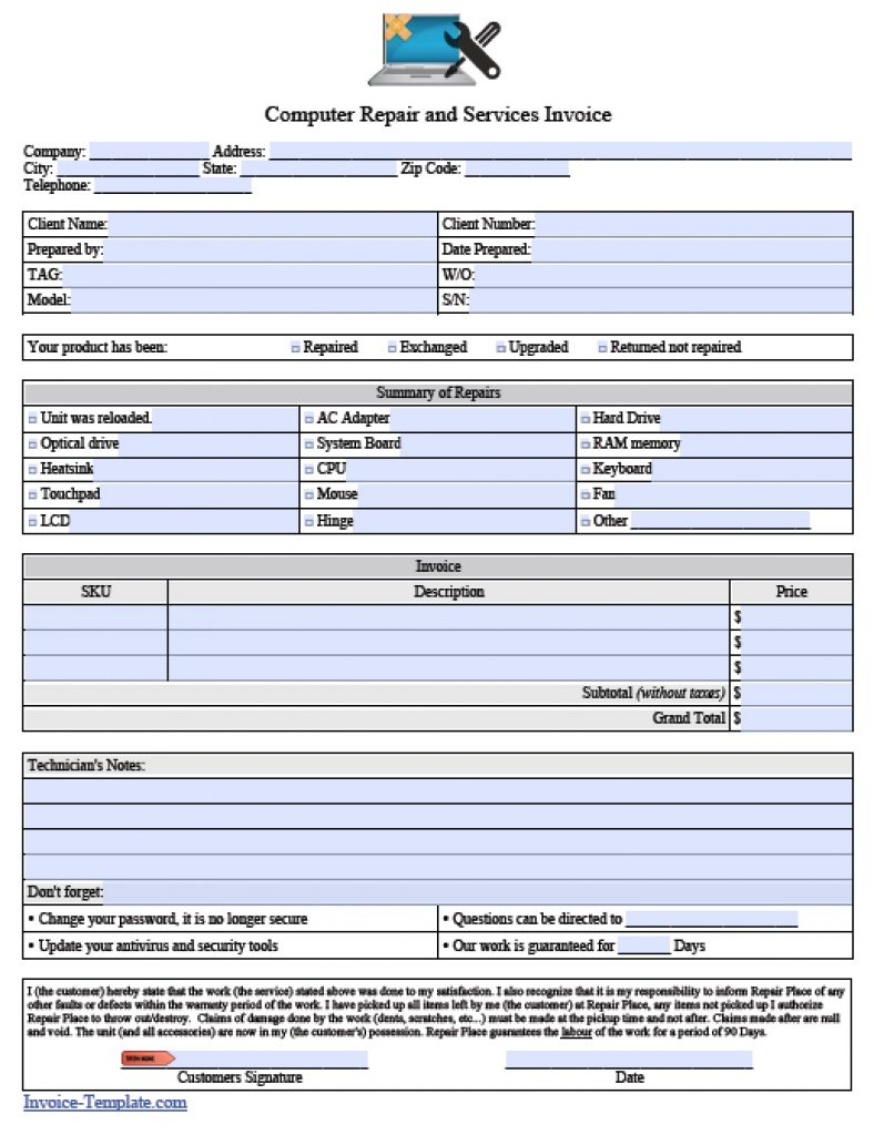 computer repair invoice template pdf
