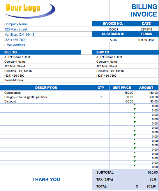 Construction Invoice Template Excel Invoice Example
