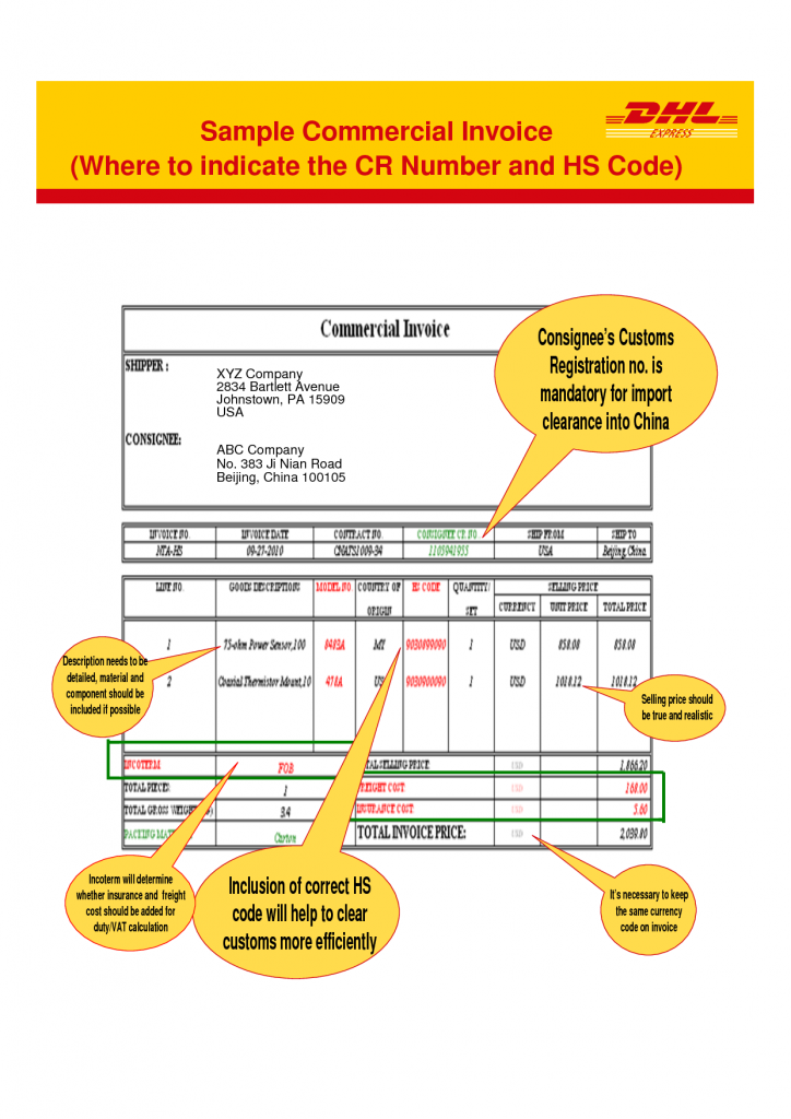 dhl commercial invoice template