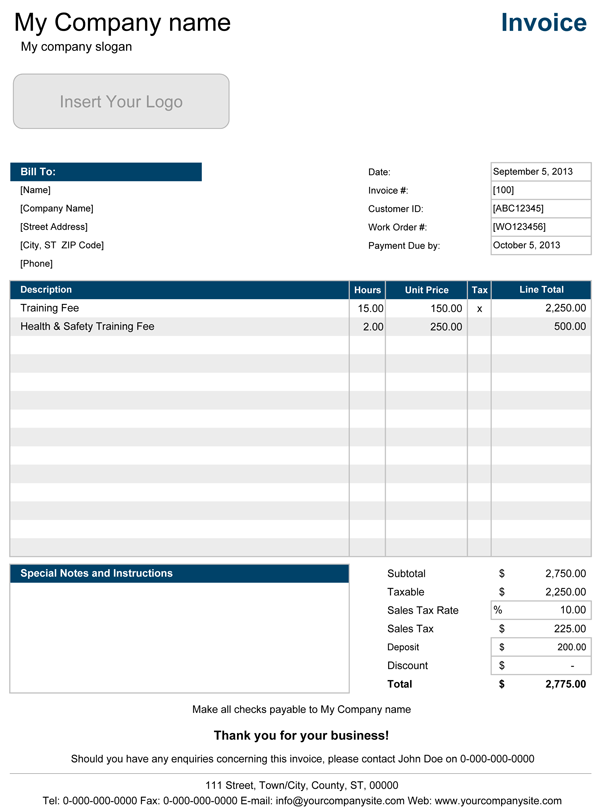 Electrical Invoice Template Pdf Invoice Example
