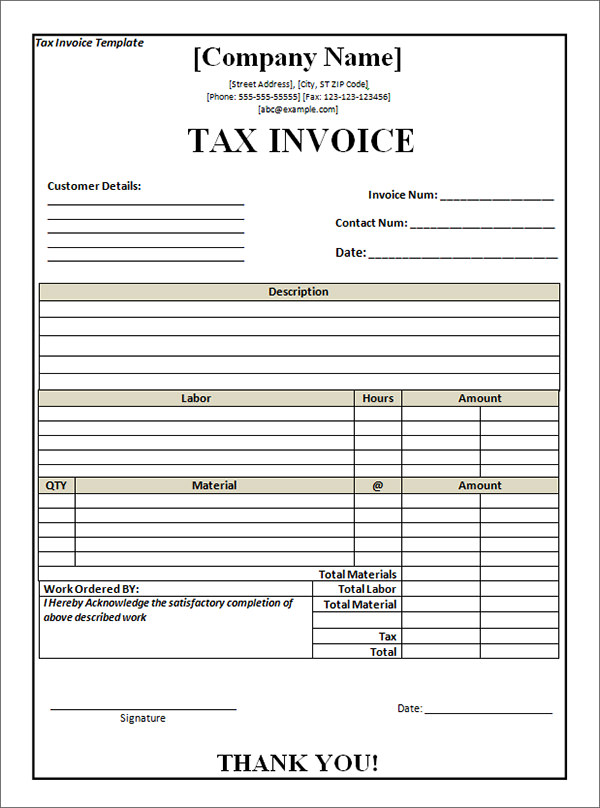 free tax invoice template excel