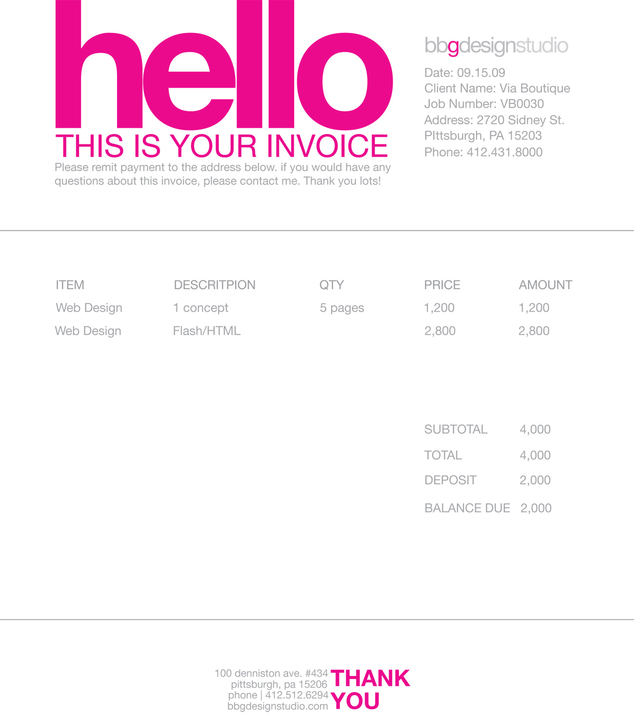 Freelance Invoice Template Free