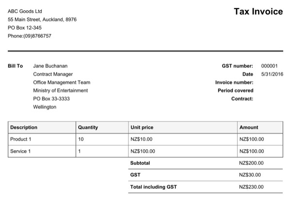 gst invoice template nz