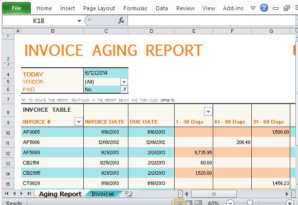 invoice aging report excel template