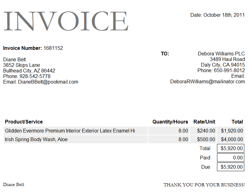 invoice sample doc