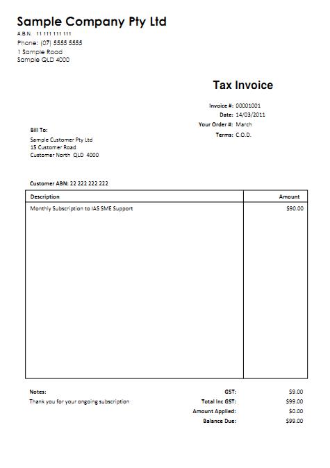 invoice template australia no gst invoice example