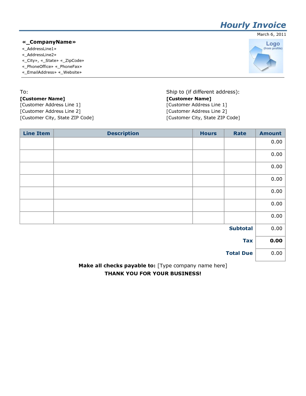 Invoice Template Hours Worked Invoice Example