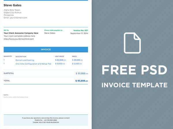 invoice template psd