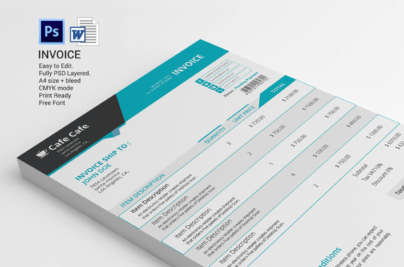 invoice template psd invoice example