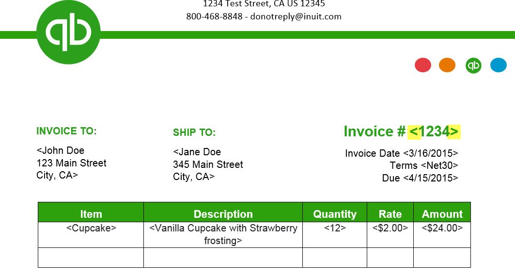 invoice template quickbooks invoice example