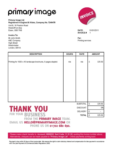 invoice template uk limited company invoice example
