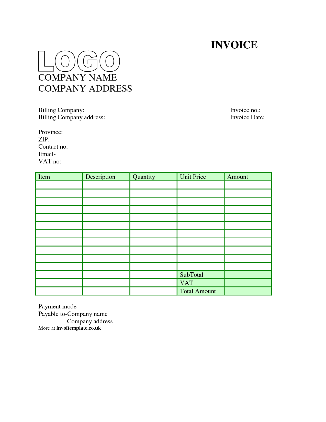 Invoice template uk word invoice example for Plos one word template