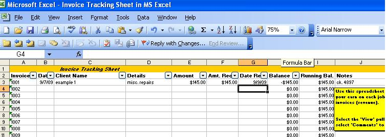 invoice tracking template excel invoice example