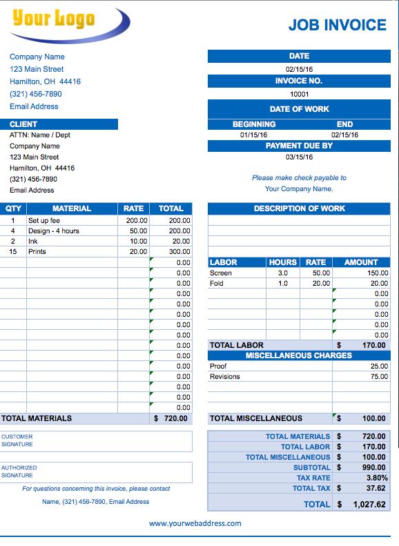 Job Invoice Template Pdf Invoice Example